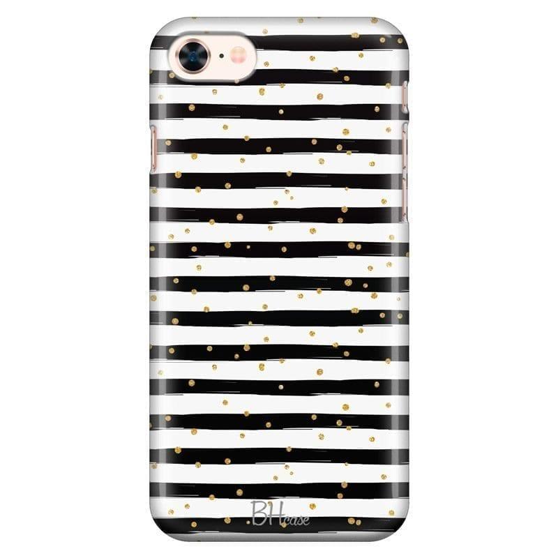 Stripes Gold Black White Kryt iPhone 7/8