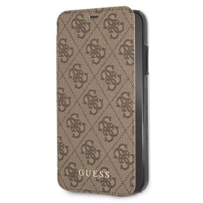 Guess Charms 4G Brown Book Kryt iPhone XR