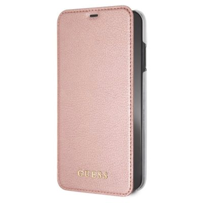 Guess Iridescent Leather Rose Gold Book Kryt iPhone XS Max