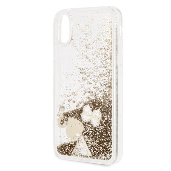 Guess Liquid Glitter Hearts Gold Kryt iPhone X/XS