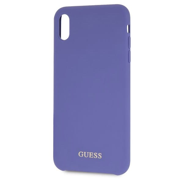 Guess Silicone Gold Logo Purple Kryt iPhone X/XS