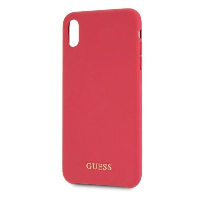 Guess Silicone Gold Logo Red Kryt iPhone XS Max