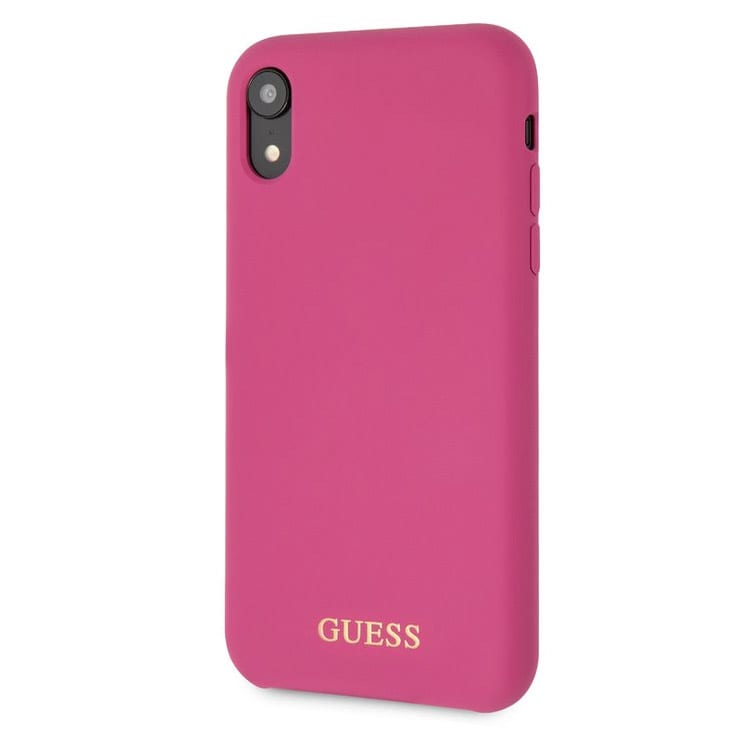 Guess Silicone Gold Logo Pink Kryt iPhone XR
