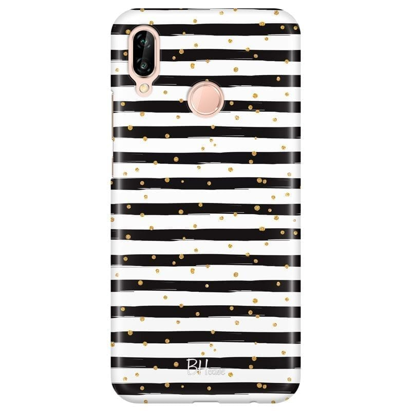 Stripes Gold Black White Kryt Huawei P20 Lite