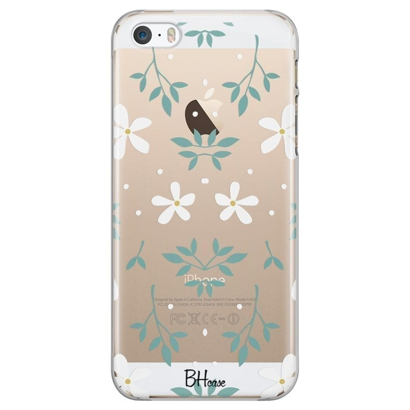 White Floral Kryt iPhone SE/5S