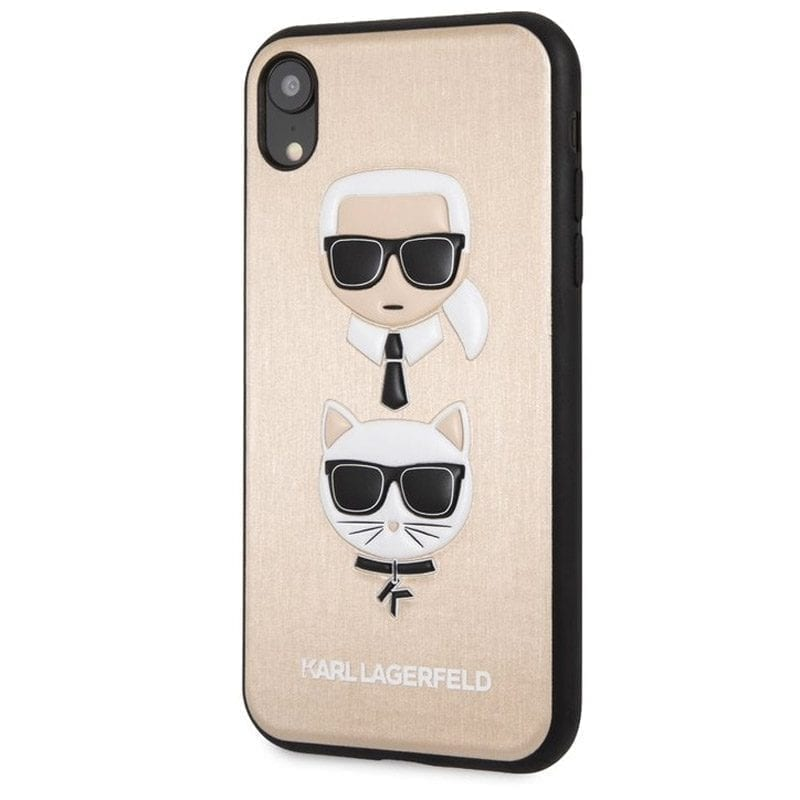 Karl Lagerfeld Karl And Choupette Gold Hard Kryt iPhone XR
