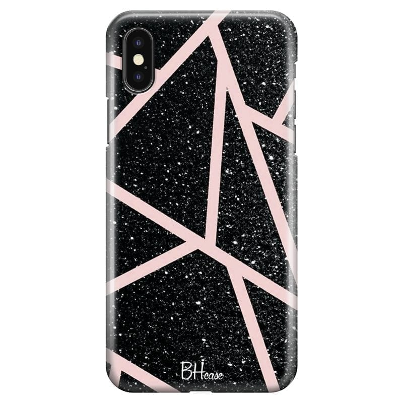 Black Glitter Pink Kryt iPhone X/XS