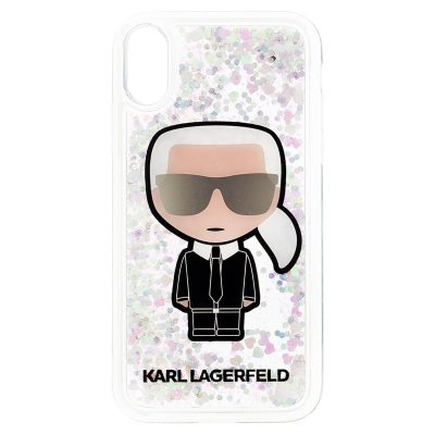 Karl Lagerfeld Iconic Transparent Liquid Glitter Kryt iPhone XR