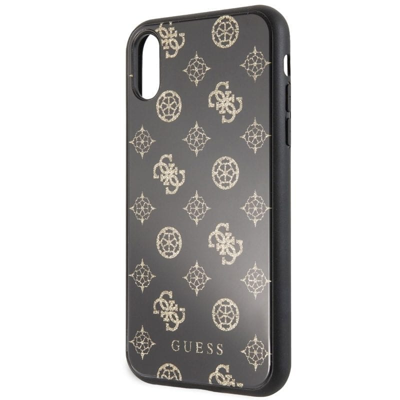 Guess Layer Glitter Peony Black Kryt iPhone XR