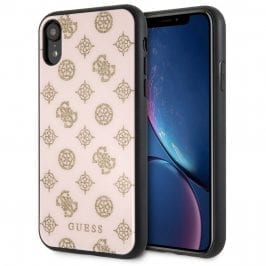 Guess Layer Glitter Peony Light Pink Kryt iPhone XR