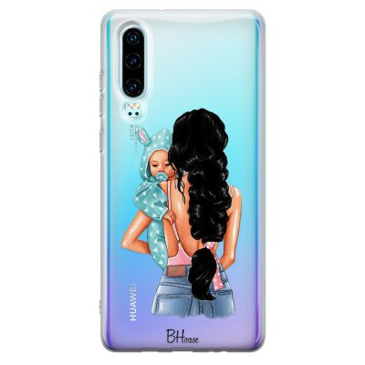 Mother Black Haired With Boy Kryt Huawei P30