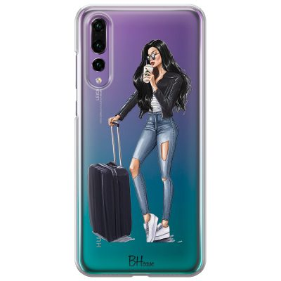 Woman Black Haired With Baggage Kryt Huawei P20 Pro