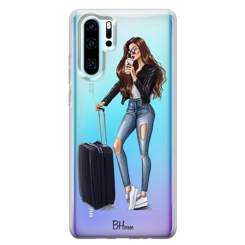 Woman Brunette With Baggage Kryt Huawei P30 Pro