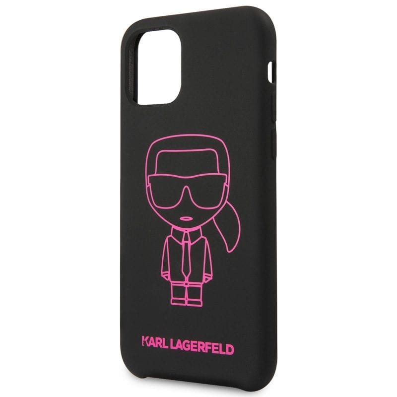 Karl Lagerfeld Silicone Pink Out Black Kryt iPhone 11