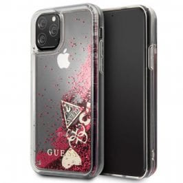 Guess Glitter Hearts Rapsberry Kryt iPhone 11