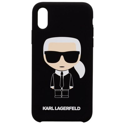 Karl Lagerfeld Iconic Silicone Black Kryt iPhone X/XS