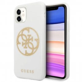 Guess 4G Glitter Circle White Gold Kryt iPhone 11