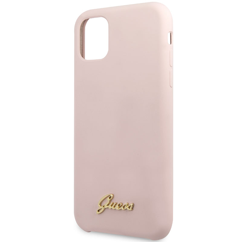 Guess Silicone Vintage Pink Kryt iPhone 11