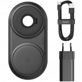 Baseus Planet 2in1 Cable Winder + Wireless Charger Black