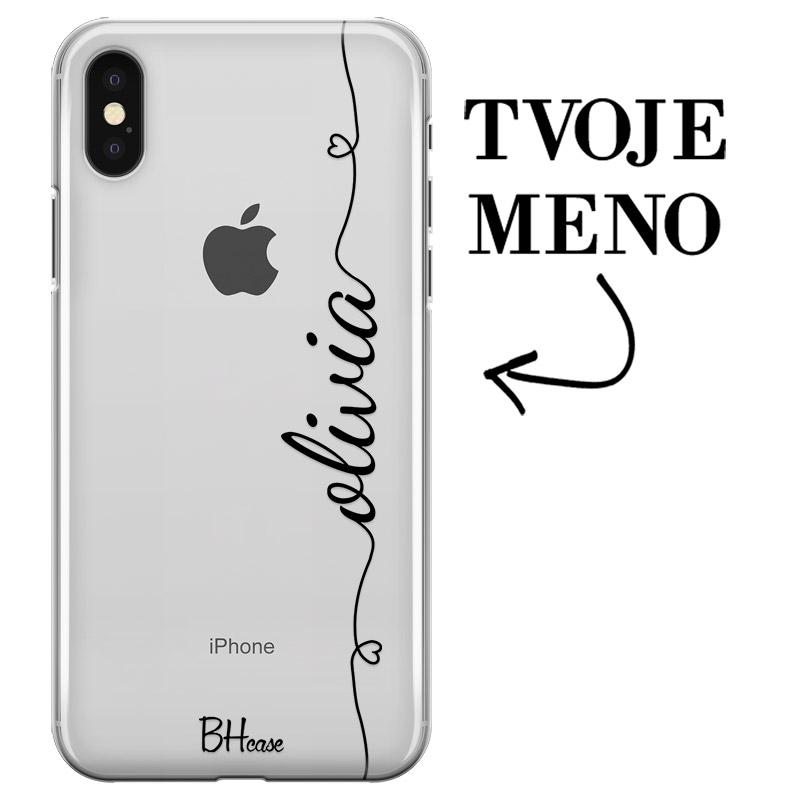 Kryt so srdiečkom a menom pre iPhone X/XS
