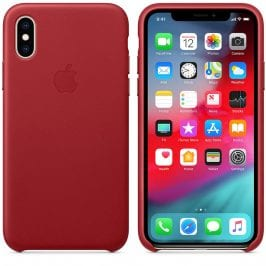 Apple Red Leather Kryt iPhone XS