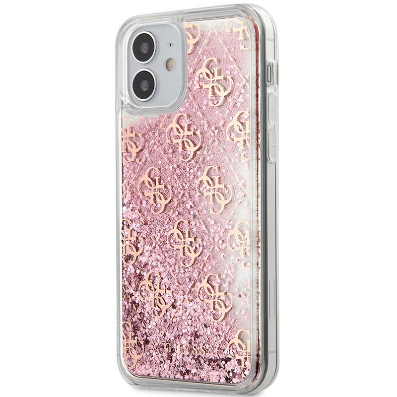Guess 4G Liquid Glitter Pink Kryt iPhone 12 Mini