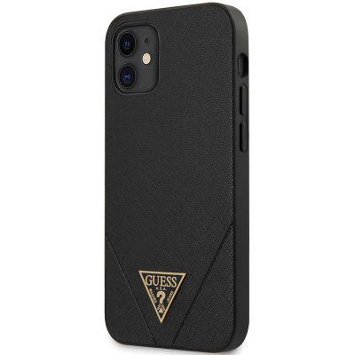Guess Saffiano V Stitch Black Kryt iPhone 12 Mini