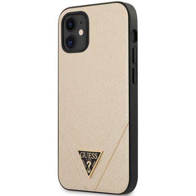 Guess Saffiano V Stitch Gold Kryt iPhone 12 Mini