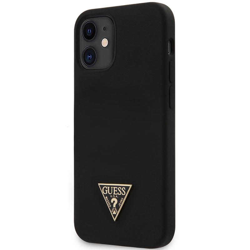 Guess Silicone Metal Triangle Black Kryt iPhone 12 Mini