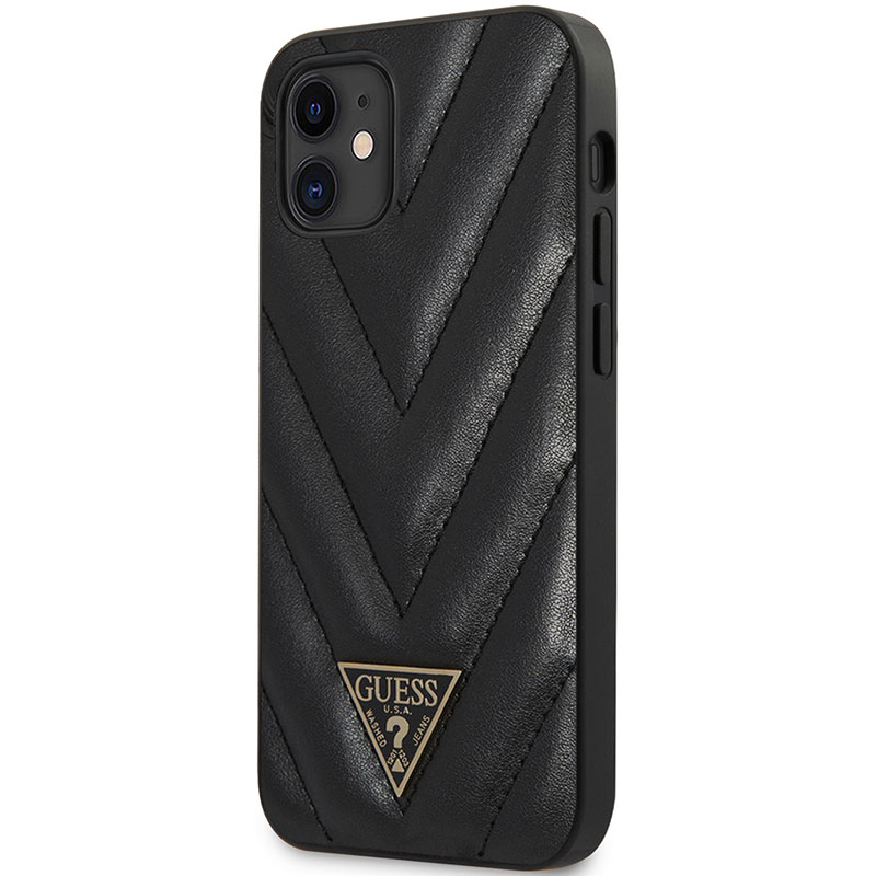 Guess V Quilted Black Kryt iPhone 12 Mini
