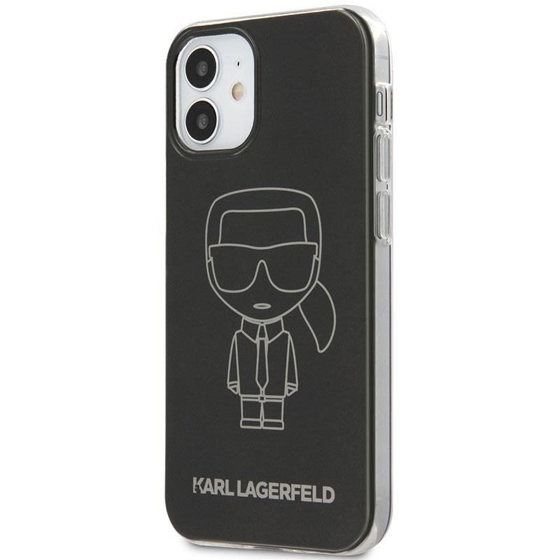 Karl Lagerfeld Iconic TPU Outline Metallic Black Kryt iPhone 12 Mini