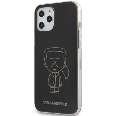 Karl Lagerfeld Iconic TPU Outline Metallic Black Kryt iPhone 12/12 Pro