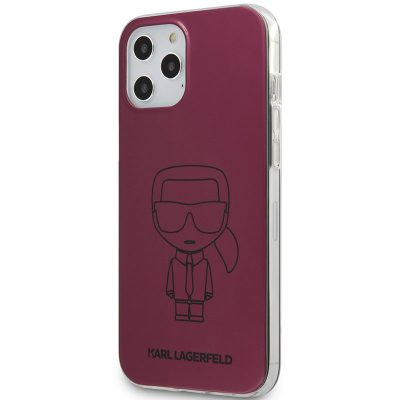 Karl Lagerfeld Iconic TPU Outline Metallic Pink Kryt iPhone 12/12 Pro
