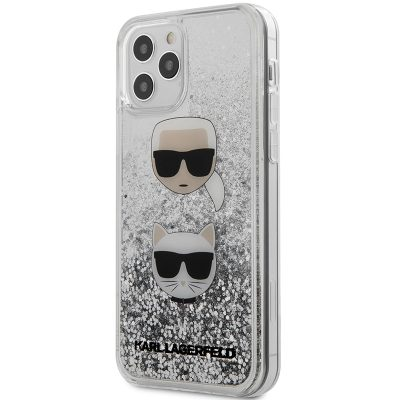 Karl Lagerfeld Liquid Glitter 2 Heads Silver Kryt iPhone 12/12 Pro