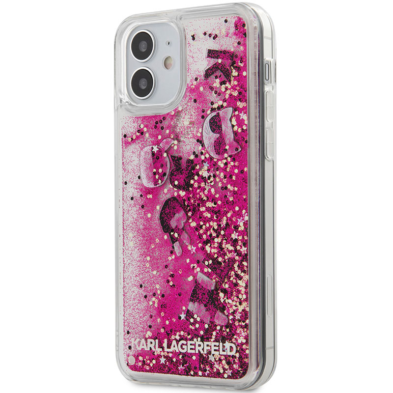 Karl Lagerfeld Liquid Glitter Charms Pink Kryt iPhone 12 Mini
