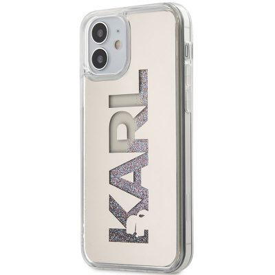 Karl Lagerfeld Liquid Glitter Multi Mirror Silver Kryt iPhone 12 Mini