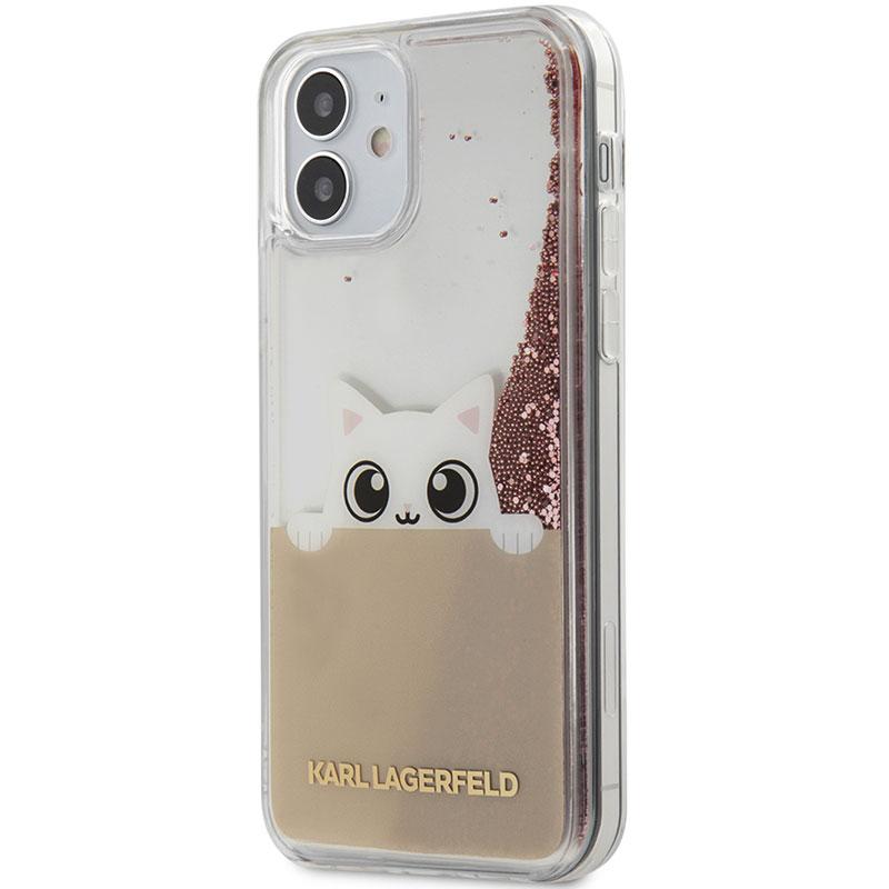 Karl Lagerfeld Liquid Glitter Peek a Boo Pink Kryt iPhone 12 Mini