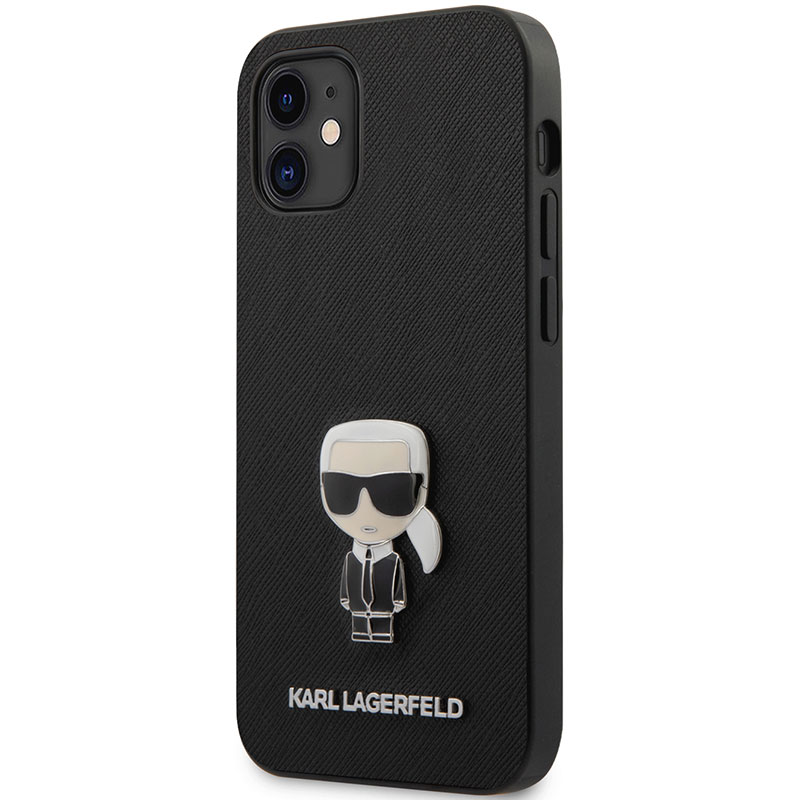 Karl Lagerfeld Saffiano Iconic Black Kryt iPhone 12 Mini