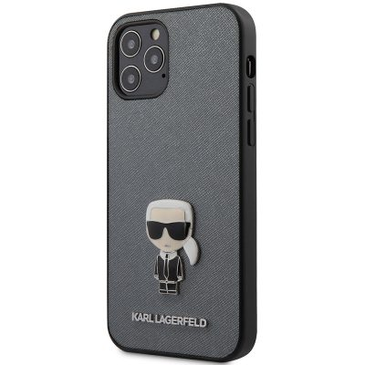 Karl Lagerfeld Saffiano Iconic Silver Kryt iPhone 12/12 Pro