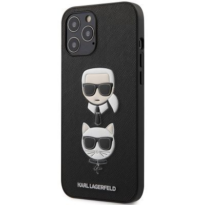 Karl Lagerfeld Saffiano K&C Heads Black Kryt iPhone 12/12 Pro