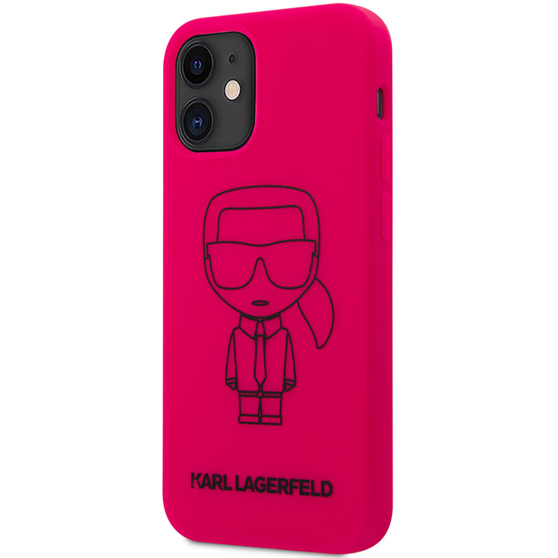 Karl Lagerfeld Silicone Iconic Outline Pink Kryt iPhone 12 Mini